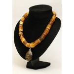 125 g. Natural Baltic amber necklace with pendant cognac color