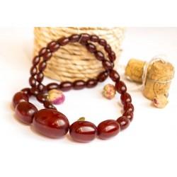 40 g. Vintage Cherry red amber Bakelite graduated art deco necklace