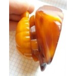"""136 g. """"Turtle on stone"""" sculpture (figurine) carved from 100% natural Baltic amber stone"""