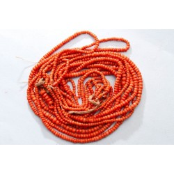 142 g. Vintage natural red coral necklace antique undyed red coral jewelry (salmon boho ethnic art deco coral necklace)