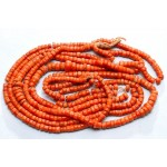 88 g. Vintage natural red coral necklace antique undyed red coral jewelry (salmon boho ethnic art deco coral necklace)