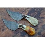 2 pcs SET pocket damascus steel knife bone stag horn