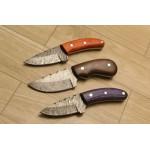 3 pcs SET combat damascus steel knives full tang
