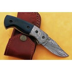 Combat damascus steel knife everyday carry bone