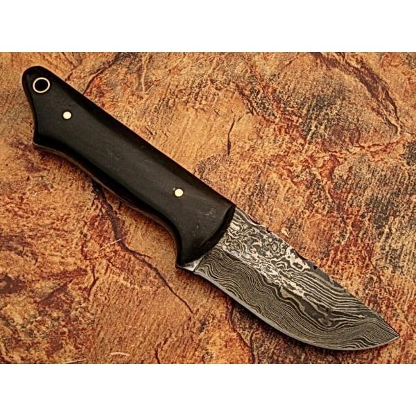 Skinner knife damascus steel knife leather