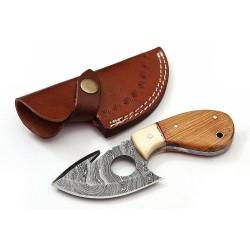 Skinner damascus steel knife wild life camel bone wood