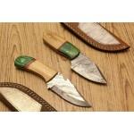 2 pcs SET hunting damascus steel knives wood