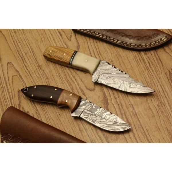 2 pcs SET full tang damascus steel knives tracker