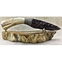Exclusive collection knife horn natural stone petrified wood