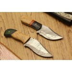 2 pcs SET throwing damascus steel knives olive wood