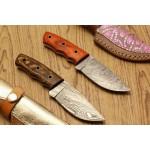2 pcs SET everyday carry damascus steel knife hard wood