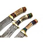 3 pcs SET handmade damascus steel knife hunting knives