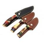 3 pcs SET bowie damascus steel knife stag bone knives