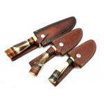 3 pcs SET handmade damascus steel knife stag horn brass