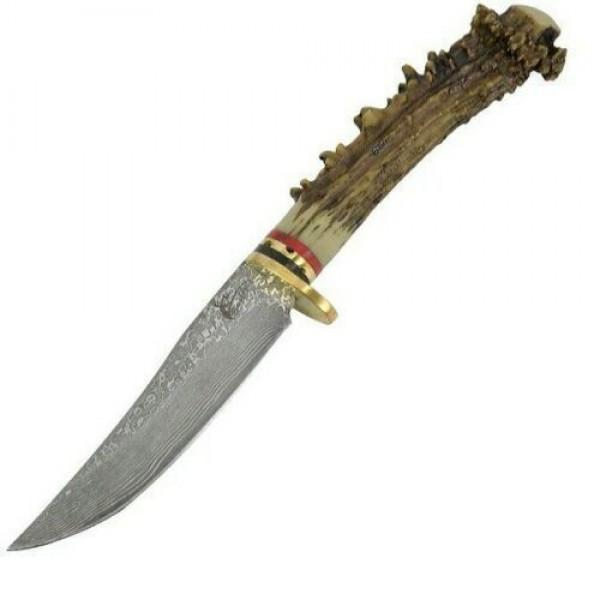 Bowie Damascus steel knife Bone handmade
