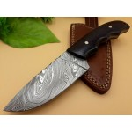 Camping damascus steel knife handmade micarta leather