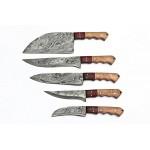 5 pcs SET kitchen chef damascus steel knives wood