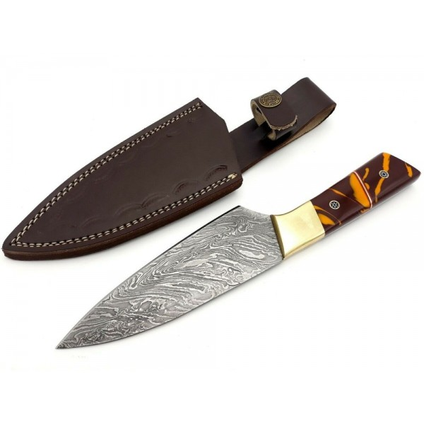 Kitchen chef everyday carry damascus steel knife resin
