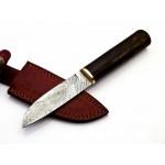 Hunting handmade damascus steel knife bowie wood handle