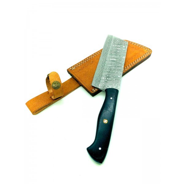 Kitchen chef damascus steel knife micarta leather