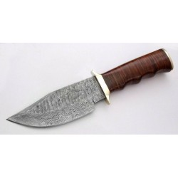 Hunting hiking work damascus steel knife leather brass