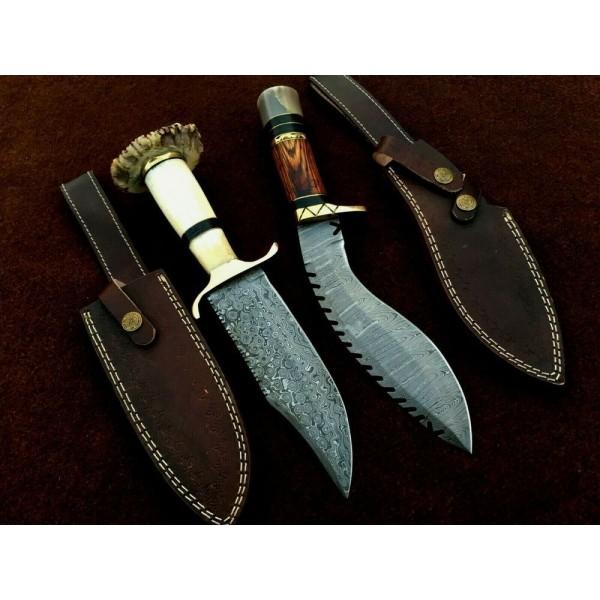 2 pcs SET work damascus steel knife bull horn knives