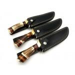 3 pcs SET handmade damascus steel knife stag antler knives