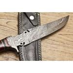 Dagger hunting hiking damascus steel knife bone wood
