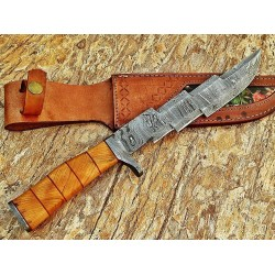 Throwing damascus steel knife bowie survival