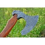 Splitter damascus steel viking axe gift rose wood