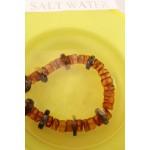 90 g. Vintage 100% natural Baltic amber necklace buttons brown black color