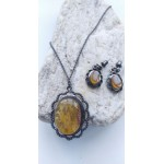 26 g. Antique Baltic amber set of necklace and earrings transparent yellow brown color