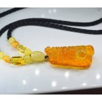 """20 gram pendant """"Dragon"""" from natural amber on a cord hand-carved figurine"""