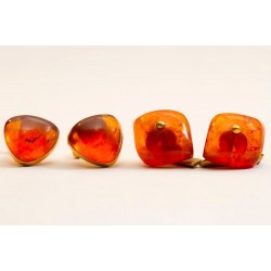 19 g. 2 pairs of beautiful Natural Baltic Amber cufflinks gilding stamped