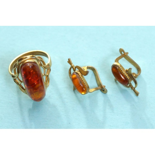 100% natural Baltic amber earrings and ring jewelry gilding stamped