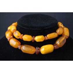 119 g. Vintage 100% natural Baltic amber necklace barrels shape