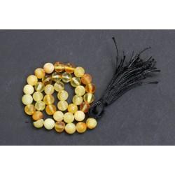 8.9 g. Vintage 100% natural Baltic amber rosary / mala, yellow transparent