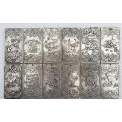 12 pcs Chinese Twelve Zodiac tibetan Silver pendant bar amulet