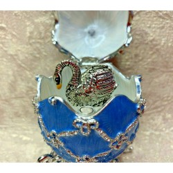 Decorative Faberge Egg Swan Blue Swarovski crystals