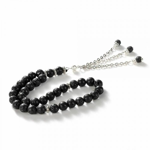 Handmade 33 beads rosary chaplet lava stone black