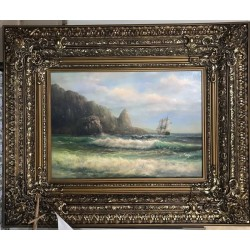 Aivazovsky I.K. Painting Oil on canvas Seascape, Dammar varnish, Unframed, Original, Handmade (Attrib.)
