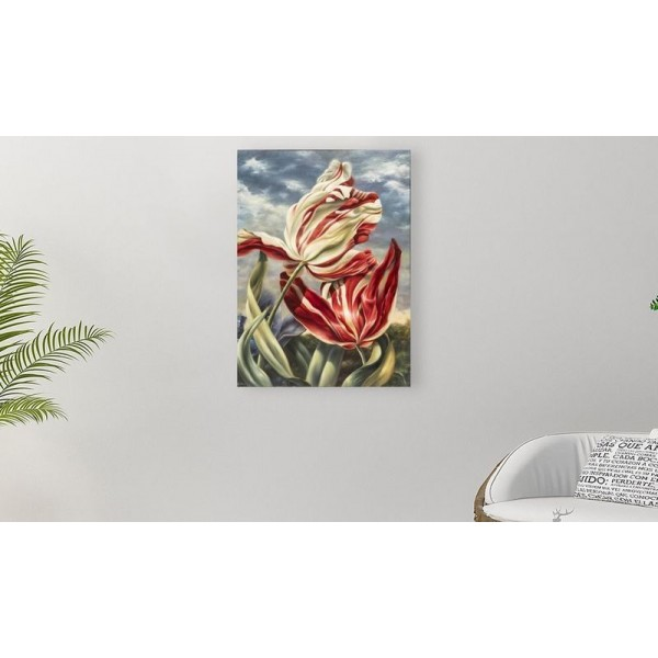 """24"""" KEITH MILLER Red and White Tulips painting, Mixed media printed on canvas panel on the wooden frames"""