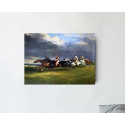"""THEODORE GERICAULT """"The Derby of Epsom"""" painting canvas not oil Mixed media printed on canvas"""