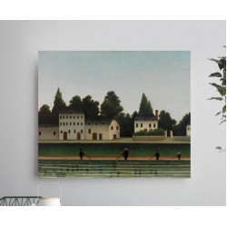 """HENRI ROUSSEAU """"Landscape and Four Fisherman"""" painting canvas not oil printed on canvas"""