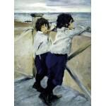 "26,8"" Valentin Serov Children. Sasha and Yura Serov Mixed media printed on canvas painting"