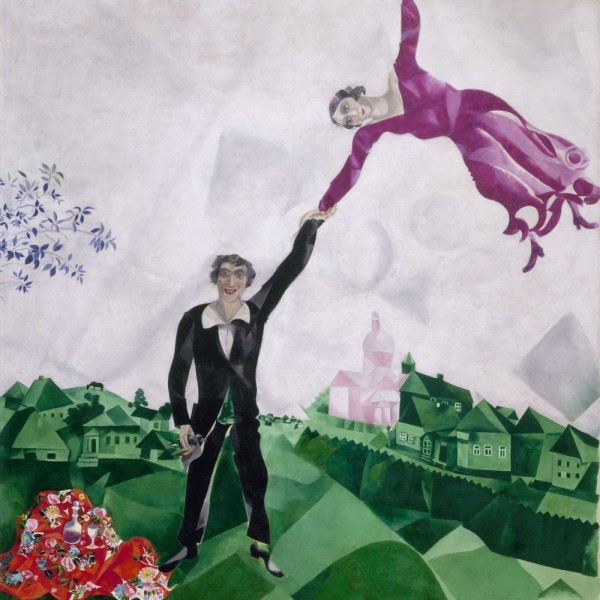 """19,6"""" MARC CHAGALL Walk (Lovers) Mixed media printed on canvas painting"""