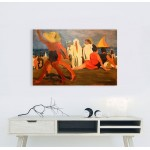 """21,2"""" LEON BAKST Bathers on the Lido. Venice Mixed media printed on canvas painting"""