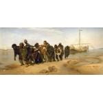 "19,3"" Ilya Repin Barge Haulers on the Volga Mixed media printed on canvas painting"